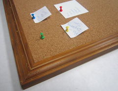 a rustic wood frame is well suited to a cork memo board